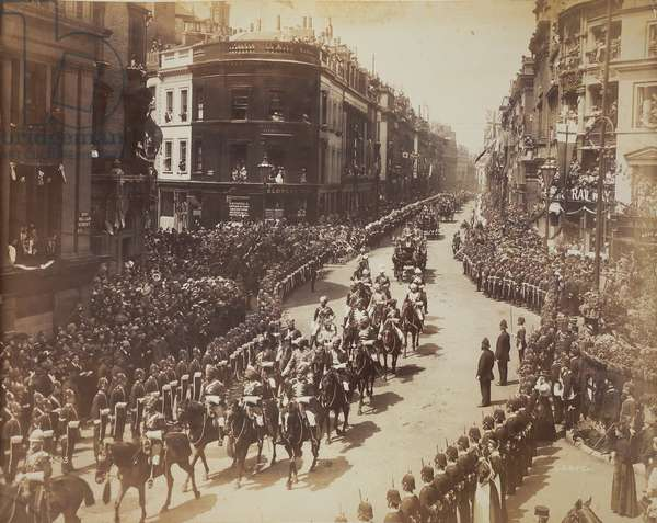 Indian cavalry parading during the Diamond Jubilee celebrations, 1897 (b/w photo)