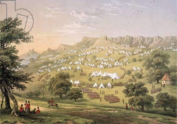 The Camp of the Foreign Legion near Hythe, Kent 1855 (lithograph, colour)