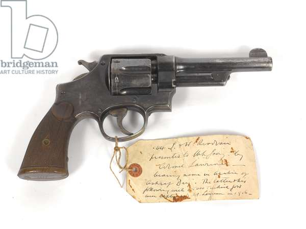 Smith and Wesson .44 inch calibre revolver given to Captain Lionel Gray by Lieutenant-Colonel T E Lawrence, 1918 circa