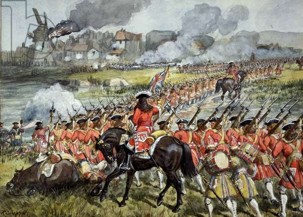 The 16th Regiment of Foot at Blenheim, 13th August 1704, c.1900 (w/c on paper)