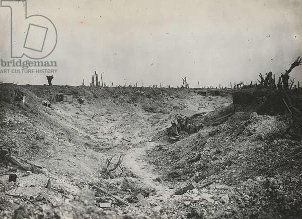 The landscape at Guillemont, September 1916 (b/w photo)