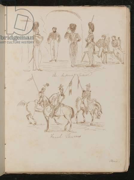 Studies of soldiers inscribed 'Imperial Guards', soldiers with flags on horseback inscribed 'French Lancers' (pen and ink)