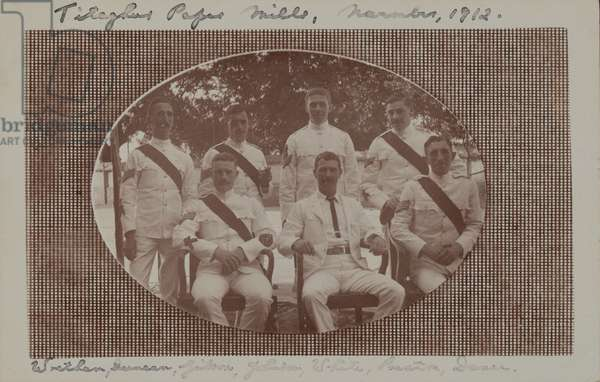 George Johnson with fellow colour sergeants of The Duke of Cambridge's Own (Middlesex Regiment), 1912 (b/w photo)