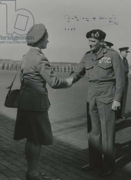 Field Marshal Bernard Montgomery and Senior Commander Mary Williamson, Auxiliary Territorial Service, 1946 (b/w photo)