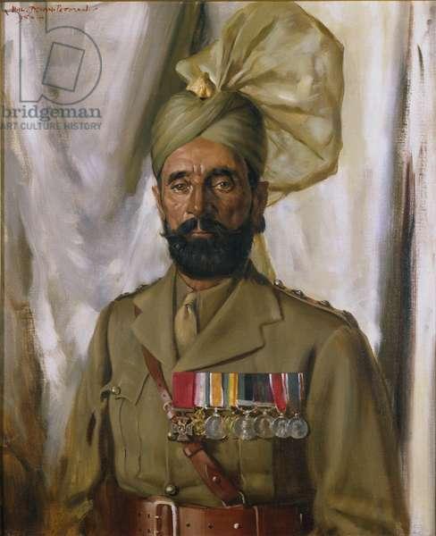 Subadar Khudadad Khan VC, 10th Baluch Regiment, c.1914-35 (oil on canvas)