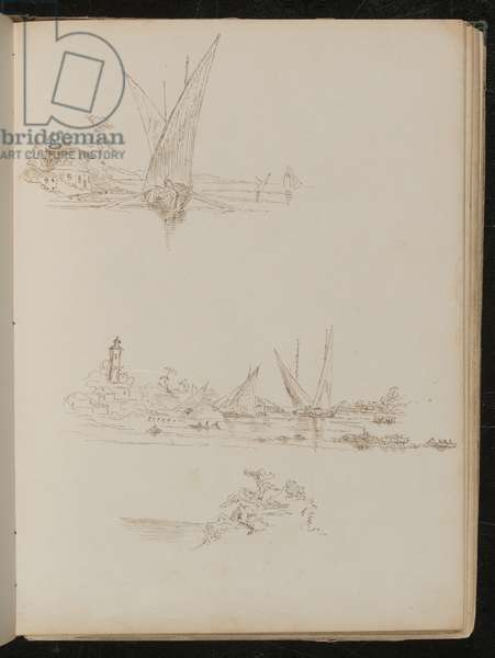 Three studies of ships, boats and coastal landscape (pen and ink)