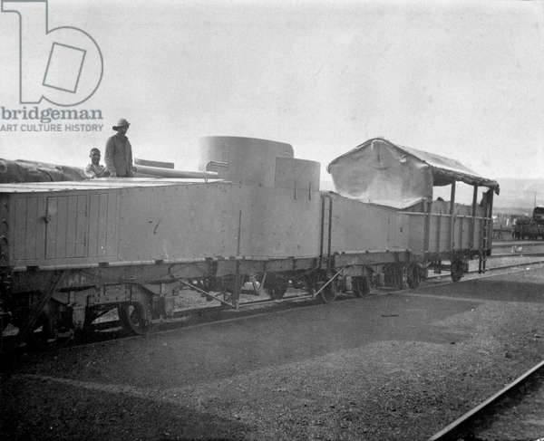The armoured train which accompanied Lord Milner on a secret visit to Natal, Boer War, December 1901 (b/w photo)