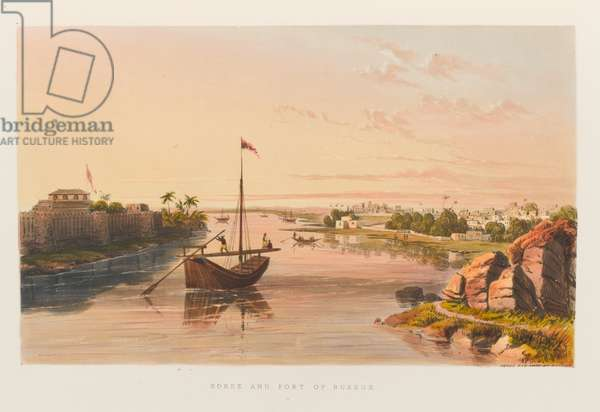 'Roree and fort of Bukkur', 1838 circa (coloured lithograph)