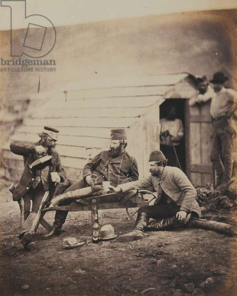 Hardships in the Camp, from an album of 52 photographs associated with the Crimean War, 1855 (b/w photo)
