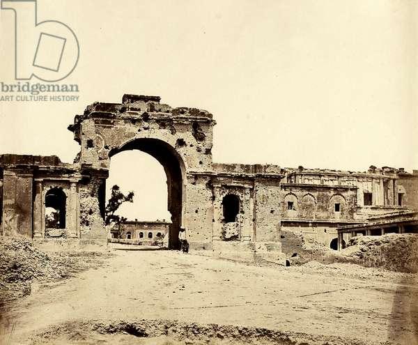 Gateway leading into the Residency, Lucknow, 1858 (b/w photo)