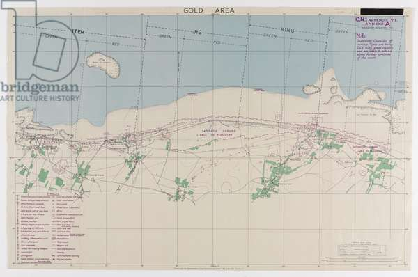 Gold Area, one of five maps illustrating the nature of German land defences along the shoreline of the D-Day landings, 1944 (colour litho)