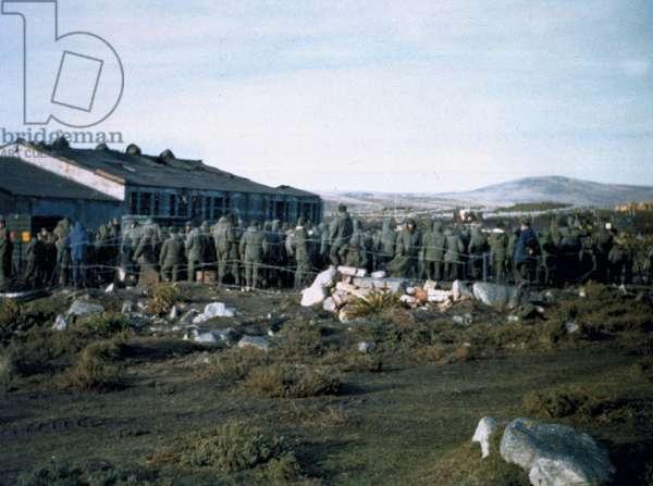 Ajax Bay prisoner of war compound, 1982 (photo)