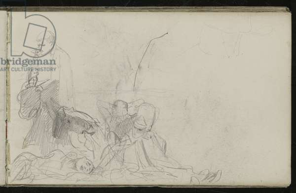 Study for 'Dawn of Waterloo', 1893 (pencil on paper)