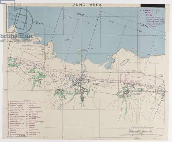 Juno Area, one of five maps illustrating the nature of German land defences along the shoreline of the D-Day landings, 1944 (colour litho)