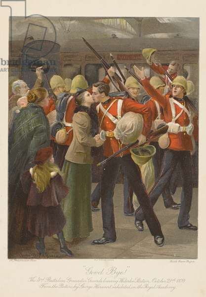 Good bye! The 3rd Battalion Grenadier Guards Leaving Waterloo Station, October 21st 1899 (chromolitho)