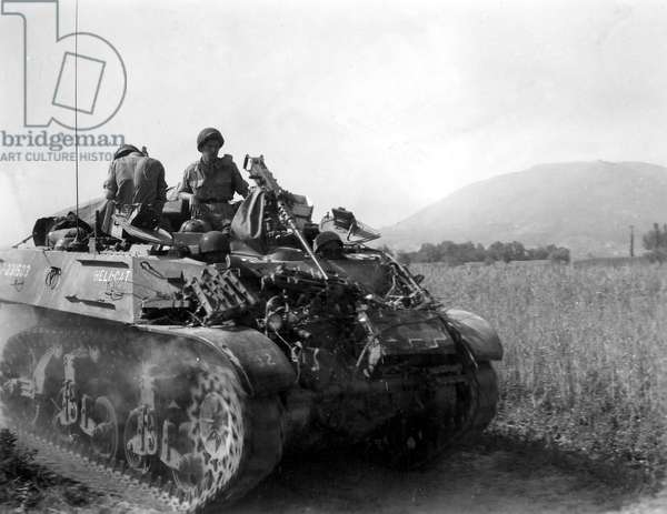 American tank driving through open country, 1944 (b/w photo)