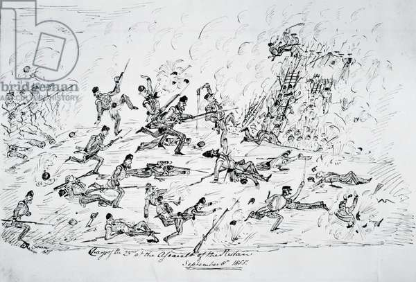 'Charge of the 23rd at the assault of the Redan, September 8th 1855'   (pen and ink)