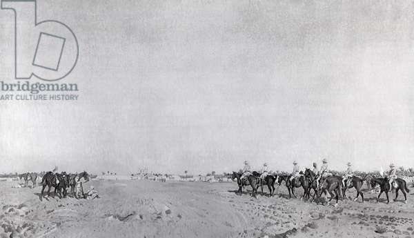 A patrol of 14th Hussars with Commanding Officer Lieutenant Colonel R.W. Hewitt DSO approaching to take Turkish surrender at the Surrender of Kazimain, March 11th 1917, published c.1918 (photolitho)