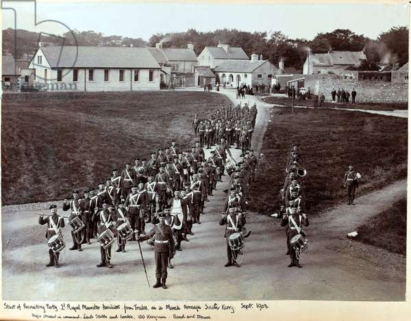 A recruiting party marching through South Kerry, 2nd Battalion The Royal Munster Fusiliers, September 1903 (b/w photo)