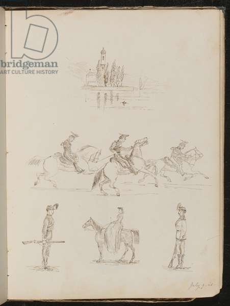 Five studies of a church, soldiers in full dress on horseback, a soldier on guard and a study of woman riding side-saddle (pen and ink)
