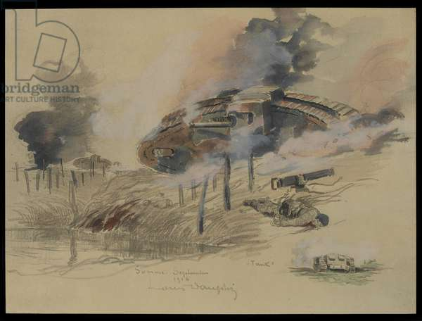Tank on the Somme, September 1916 (w/c & pencil on paper)