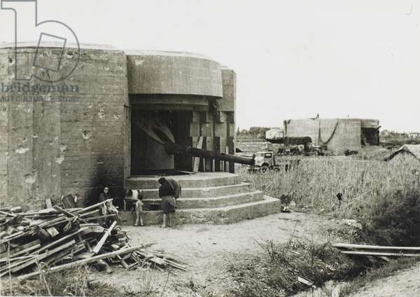 German coastal defence emplacement (b/w photo)