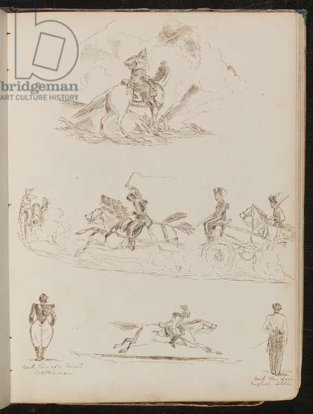 Study of soldiers on horses pulling cannon, two views of artillery men, a soldier in full dress on galloping horse (pen and ink)