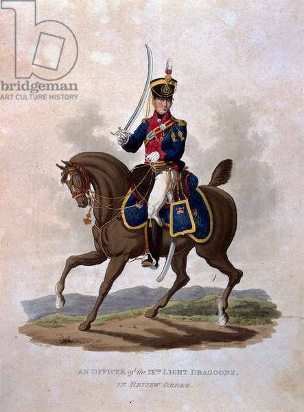 An Officer of the 9th Light Dragoons in Review Order, from 'Costumes of the Army of the British Empire, according to the last regulations 1812', engraved by J.C. Stadler, published by Colnaghi & Co. 1812-15 (coloured aquatint)