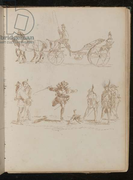 Officer in full dress with top hat and epaulettes riding in horse drawn carriage, study of six Mediterranean soldiers and a dog (pen and ink)