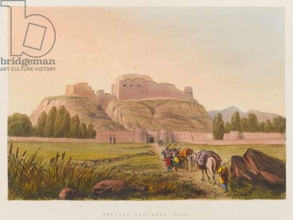'Kwettah Kandahar Gate', 1839 circa (coloured lithograph)