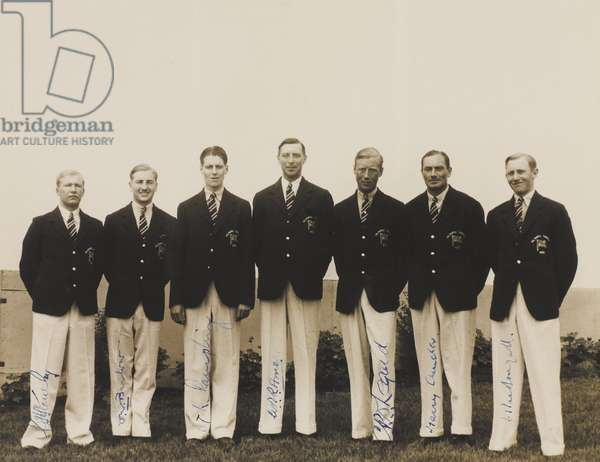 Photograph showing army members of the British Olympic team, Olympic Games, Los Angeles, 1932 (b/w photo)