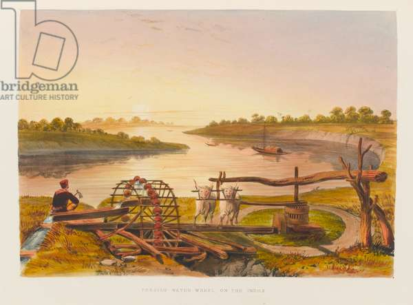 'Persian Water Wheel on the Indus', 1838 circa (coloured lithograph)