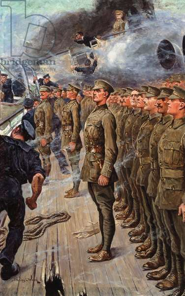 The evacuation of the troopship SS 'Tyndareus', 6 February 1917 (oil on board)
