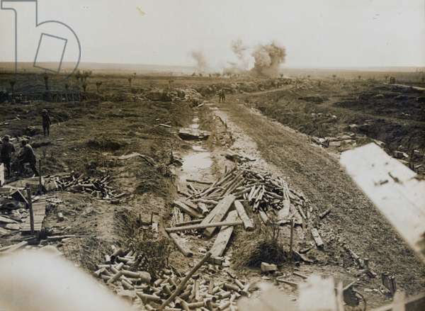 'Battle of the Menin Road. Scene on a road over newly captured ground, September 1917' (b/w photo)