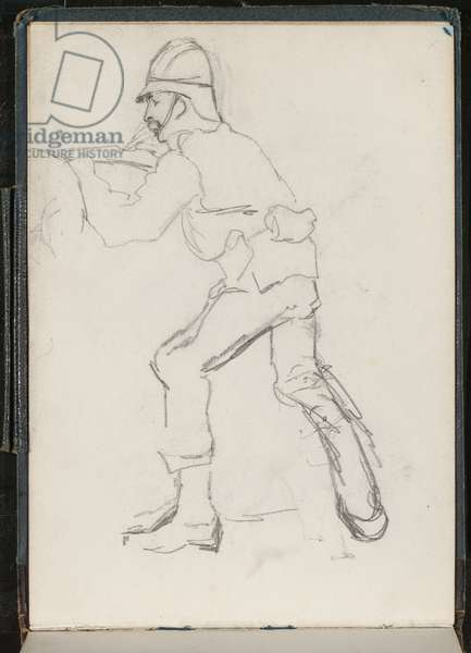 A soldier at the defences, 1879 (pencil)