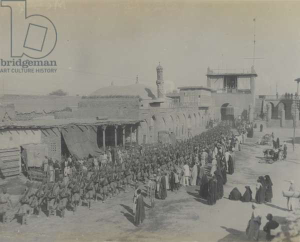 Indian troops entering Baghdad, 1917 (b/w photo)