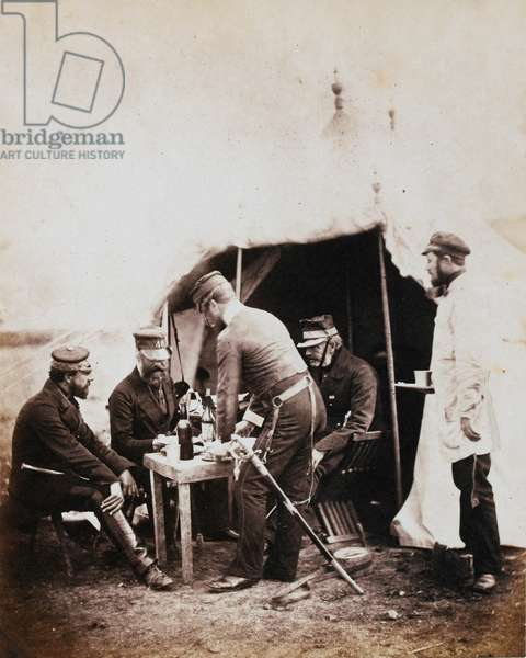 Brigadier Robert Garrett and Officers of the 4th Division, from an album of 52 photographs associated with the Crimean War (b/w photo)