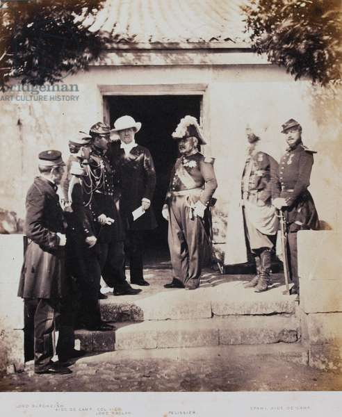 Group at Headquarters, from an album of 52 photographs associated with the Crimean War, 1855 (b/w photo)