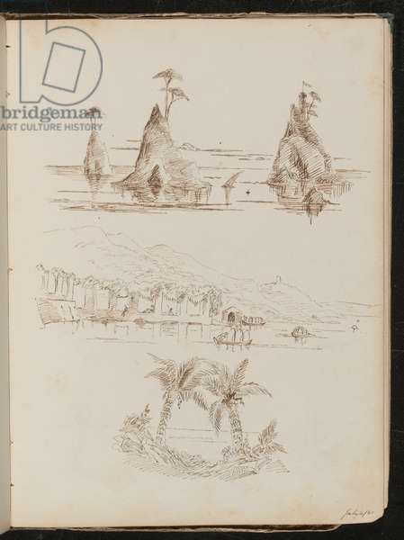 Three studies of rocky islands, a watery landscape with people and boats, and palm trees (pen and ink)