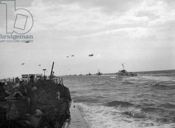 'The convoy containing the regiment shortly after leaving the Isle of Wight', 1944 (b/w photo)