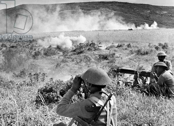 4th Indian Division in action, Egypt, April 1943 (b/w photo)
