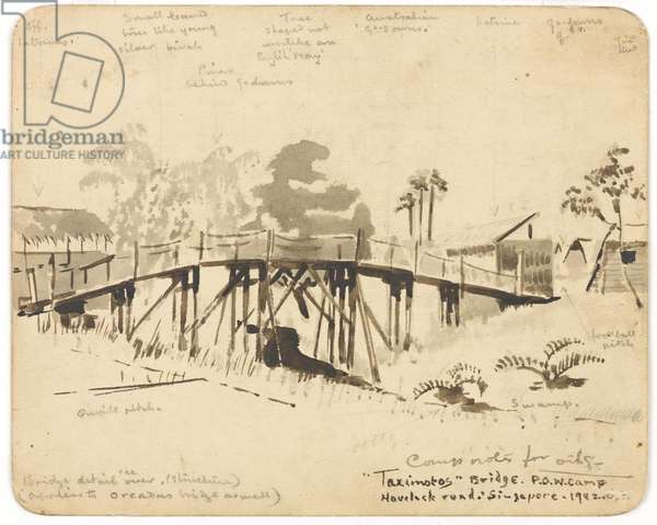 Taximoto's Bridge, POW Camp, Havelock Road, Singapore, 1942 (ink wash over pencil on paper)