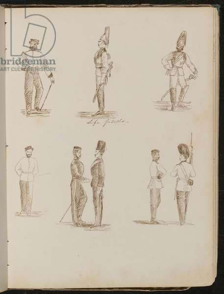 Eight studies of standing soldiers in uniform, inscribed 'Life Guards' (pen and ink)