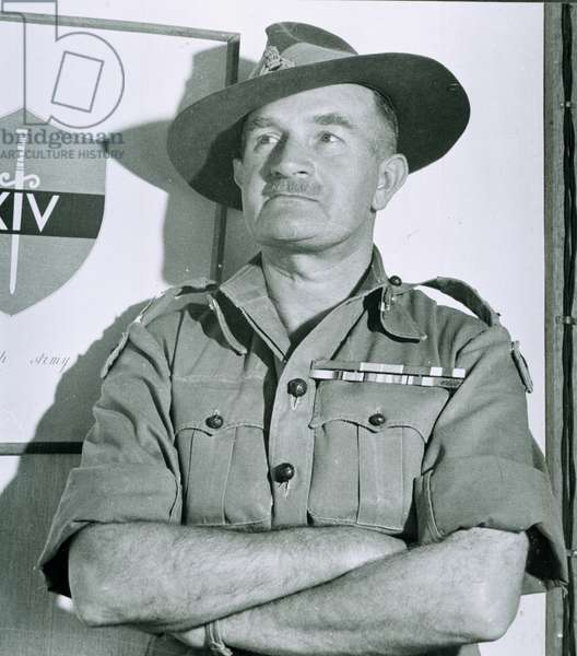 Field Marshal Sir William Slim, Commander-in-Chief, 14th Army, 1947 circa (b/w photo)
