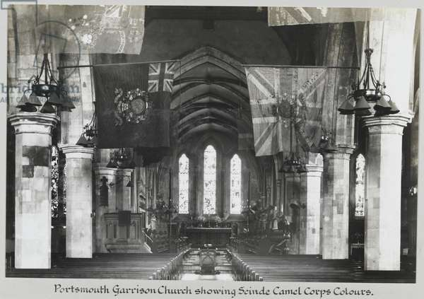 Portsmouth Garrison Church, showing the colours of the Scinde Camel Corps, c.1938-47 (b/w photo)