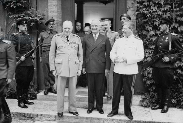 President Harry Truman, Marshal Joseph Stalin and Prime Minister Winston Churchill during the Potsdam Conference, 1945 (b/w photo)