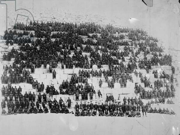 The 38th Dogras posed on one of the pyramids, Egypt, 1918 (b/w photo)