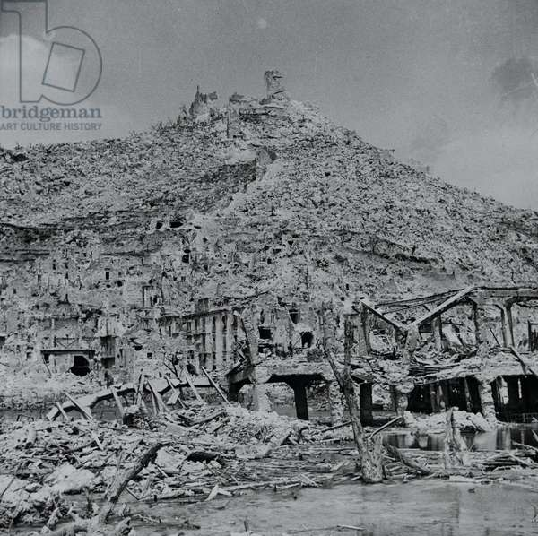 The destruction caused by fighting in the town of Cassino, Italy, 1944 (lantern slide)