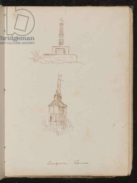 Two architectural studies of monuments, location noted as 'avignon - France' (pen and ink)