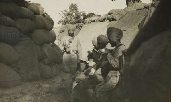 Indian soldiers in trench, Gallipoli, 1915 (b/w photo)